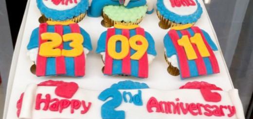 Barcelona Anniversary Cupcake