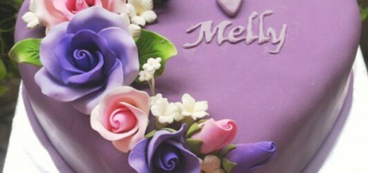 Purple Engagement Love Cake